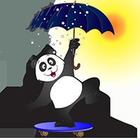 Panda sur un skateboard avec un parapluie sous la pluie et le soleil
