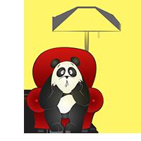 Panda qui s'ennuie chez lui dans son fauteuil