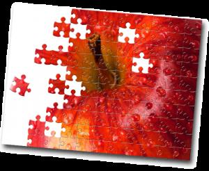 Puzzle de pomme rouge en construction