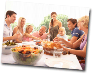 Repas de famille un dimanche midi