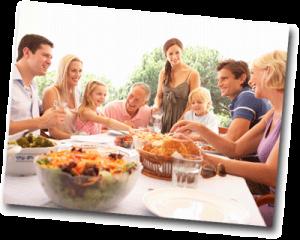 Réunion et repas de famille