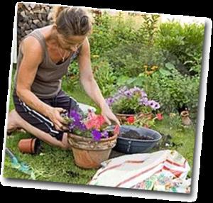 Femme qui jardine et s'occupe des fleurs sous le soleil