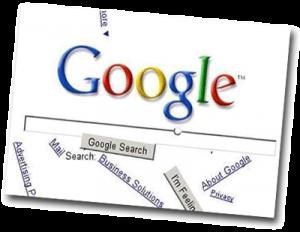 Page internet avec une recherche Google qui s'écroule