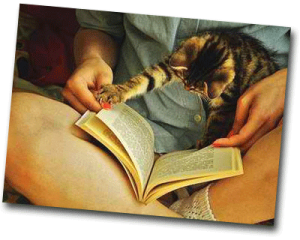 Femme qui lit un livre avec son chat pour se cultiver