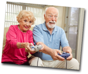 Grand parents qui jouent à la console