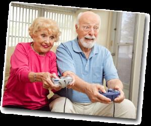 Mamie et Papi jouant aux jeux vidéo