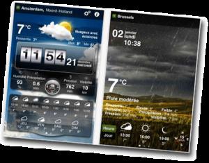 Application météo sur un smartphone