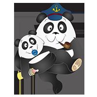 Panda marin avec un bébé