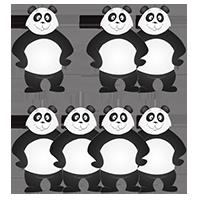 Panda avec ses amis