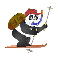 Panda voyageur en vacance au ski avec un tuba