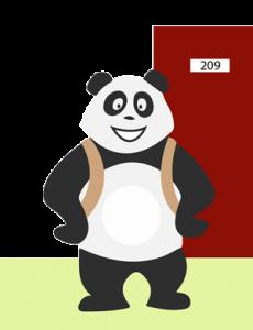 Panda qui s'ennuie à l'école