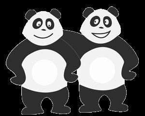 Deux pandas amis qui s'ennuient