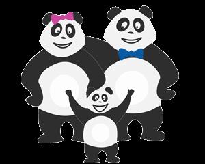 Famille de Panda qui s'ennuie