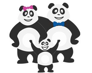 Panda en famille