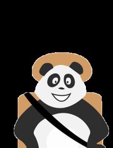 Panda qui s'ennuie en voiture sur la route