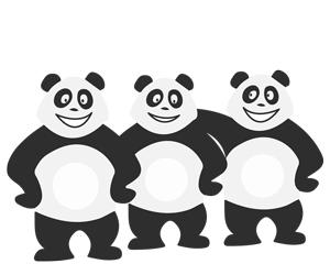Panda avec des amis