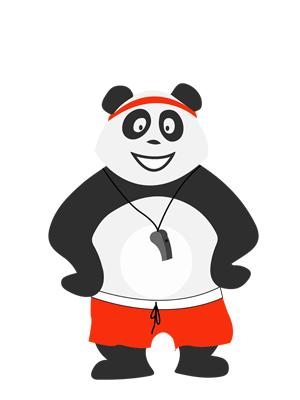 Panda en tenue de sport