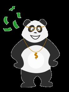 Panda bling bling qui gagne de l'argent