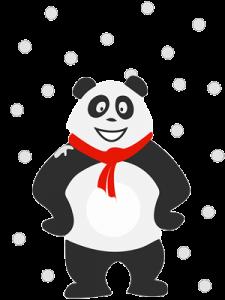 Panda qui ne sait pas quoi faire quand il neige