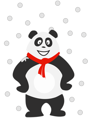 Panda sous la neige