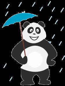 Panda qui ne sait pas quoi faire quand il pleut
