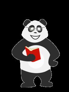 Panda qui lit un livre et se cultive