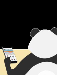 Panda qui s'ennuie sur son téléphone smartphone