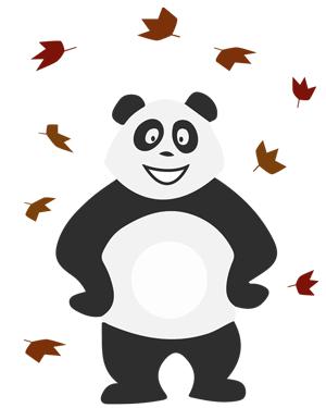 Panda sous les feuilles d'automne