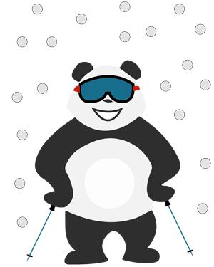 Panda au ski sous la neige d'hiver