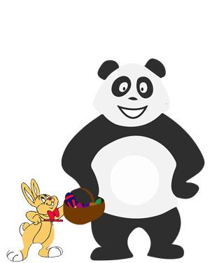 Panda qui ramasse les oeufs de Pâques