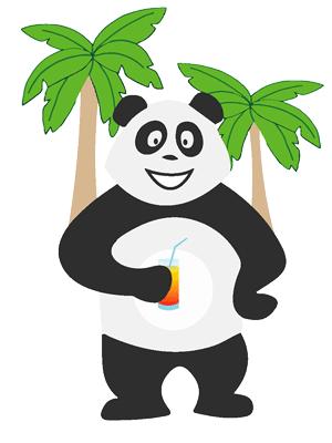 Panda qui boit un cocktail devant la piscine